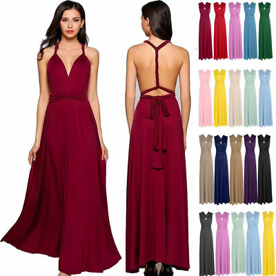 Womens Form Bridesmaid Full Wrap Cocktail Party Maxi Convertible Multi Way Dress