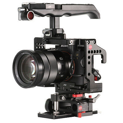 JTZ DP30 Camera Cage Baseplate with Top Handle Rig Kit Fr Sony Alpha A9 15mm Rod