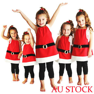 AU Seller Christmas Kids Baby Girls Xmas Santa Claus Short Dress Clothes Costume