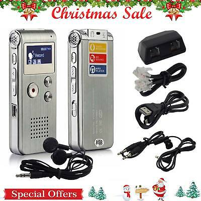8GB US Digital Audio Voice Recorder Rechargeable Dictaphone Telephone MP3 Player