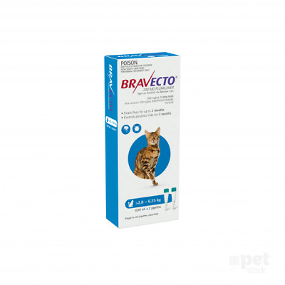 NEW Bravecto Spot-On For Cats 2.8-6.25kg Blue