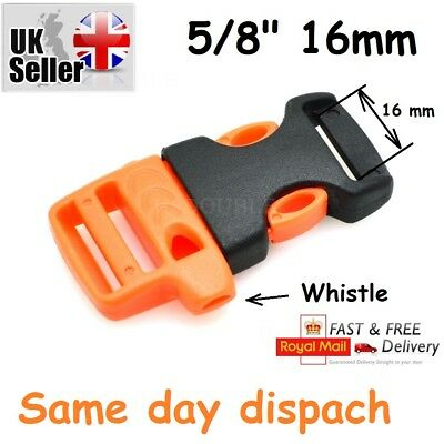 "5/8""(16mm) Emergency Side Release Whistle Buckles For Paracord Bracelet UK"