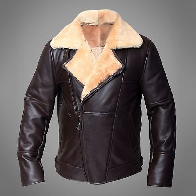 B3 Flight Winter Mens Ginger Real Real Shearling Sheepskin Leather Flying Jacket