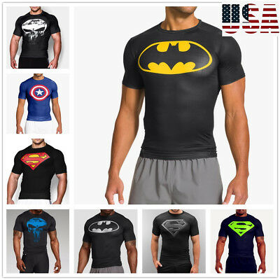 Mens Superman Superhero Gym Singlets t-shirt Bodybuilding Fitness Sports Clothes
