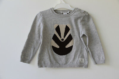 COUNTRY ROAD Baby Boy 100% Cotton Badger Intarsia Knit Jumper Sz 0/6-12m