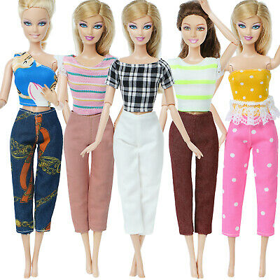 5 Fashion Outfit Handmade Beauty Fashion Blouse Pants Clothes For Barbie Doll #A