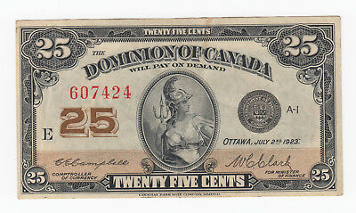 1923 Dominion of Canada Twenty Five Cents - Shinplaster DC-24d