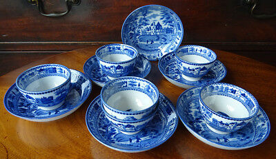 Antique English Pottery Blue Transferware 6 Cups & Saucers Teabowl Hunting Scene