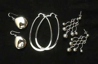 Lot Of Three Pairs Of Sterling? Silver Earrings Big & Fun!