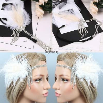 1920s Women Vintage Style Party Rhinestone Feather Flapper Headband AGSG