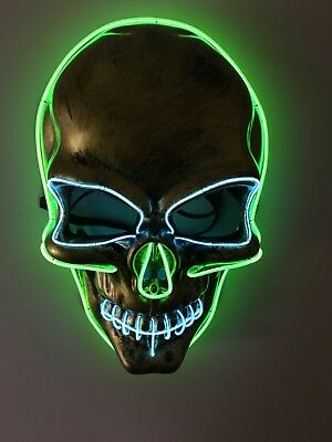 El Wire Scary Halloween Mask Led Costume Rave Cosplay - Skull Skeleton Spooky