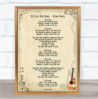 Blue Moon Song Lyric Quote Print