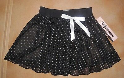 NWT Body Wrappers 4027 Black w/Gray Dots Sheer Mesh Skirt Girls Dance Girls