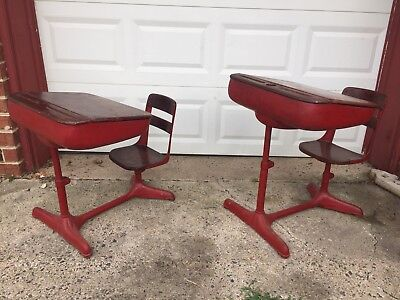 2 Vintage American Seating Company School Desk Chair Iron Woods Price To