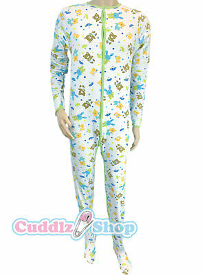 Cuddlz Teddy Pattern Stretch Adult Footed Pyjamas Sleepsuit Mens or Ladies