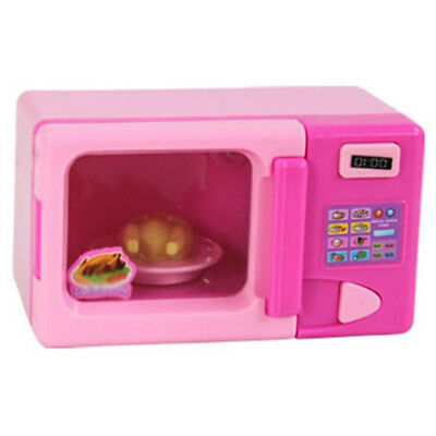 cute Pink Plastic Microwave Oven Pretend Role Play Toy Preschool Kids Gifts