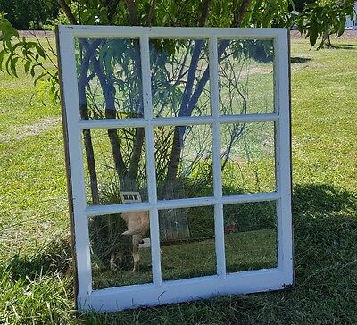 VINTAGE SASH ANTIQUE WOOD WINDOW PICTURE FRAME PINTEREST 38x32 9 PANE DECOR