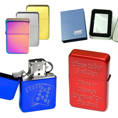 Personalised Engraved Lighter & Logo Red Blue Silver Gold Free Tin & Gift Bag