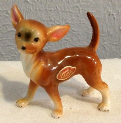 VINTAGE BONE CHINA TAN CHIHUAHUA DOG 2 x 2 1/2 ADORABLE PIECE
