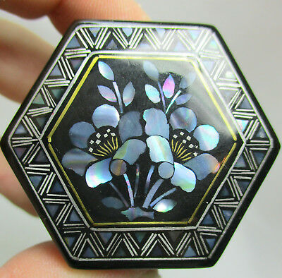 Vintage Hexagonal Black Lacquered Trinket Box with Inlaid Genuine ABALONE Shell