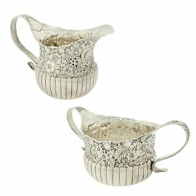 Victorian Tiffany & Co. Repousse Sterling Silver Sugar Bowl & Creamer Jug 1880