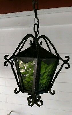 Vintage Outdoor Hanging Porch Light Lantern Wrought Iron Green Glass Panels