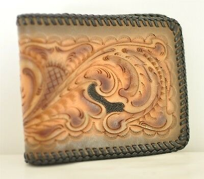 Western Hand Tooled Leather Wallet Billfold