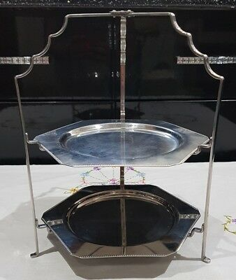 Stainless steel Olde Hall 2 Tier Serving Afternoon Tea Folding Cake Stand 20cm