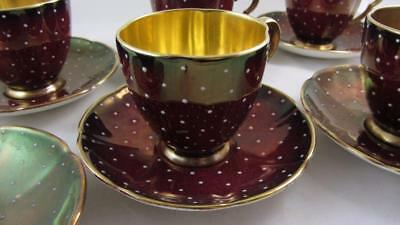 Antique Art Deco Carlton Ware Coffee Service 6 Cherry Red Polka Dot Gold inside