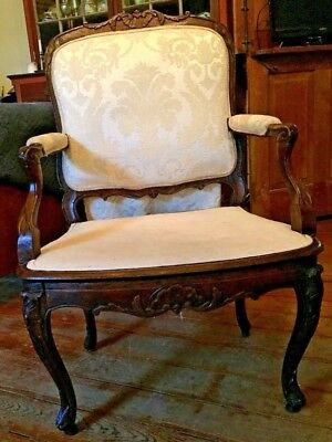 Period 18th Century Walnut Louis XV French Armchair Authentic- Rare,Great Cond.