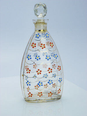 Antique Crystal Gilt Enamel Painted Flower Facet Cut Crystal Top Perfume Bottle