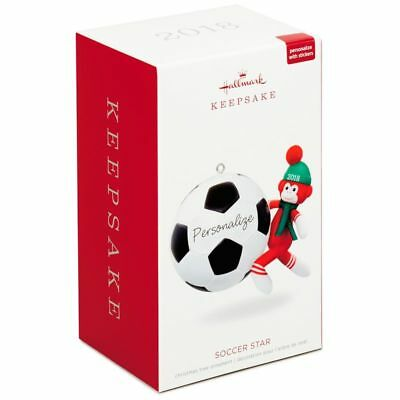 Hallmark Keepsake 2018 Soccer Star Sock Monkey Personalization Ornament