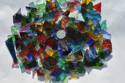 Leadlight glass offcuts for mosaic or glass crafts-Assorted translucent mix 400g