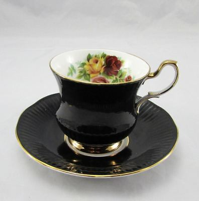 Vintage Schmid's Queens Black Bone China w Hand Painted Roses Tea Cup & Saucer
