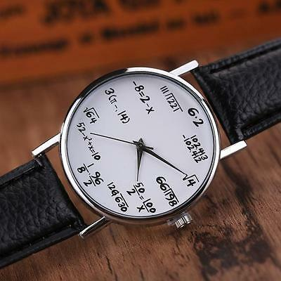 Fashion Women Mens Math Operation Leather Belt Stainless Steel Wrist Watches
