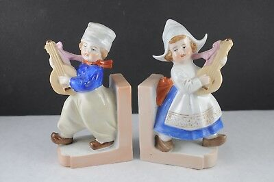"PAIR OF ANTIQUE GERMANY STAMPED 5-1/2"""" DUTCH BOY AND GIRL PORCELAIN Bookends"