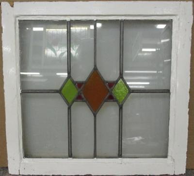 """OLD ENGLISH LEADED STAINED GLASS WINDOW Gorgeous Geometric Design 21.75"""" x 20.5"""""""