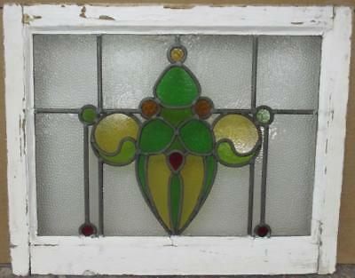 """MID SIZE OLD ENGLISH LEADED STAINED GLASS WINDOW Stunning Abstract 24.5"""" x 19.5"""""""