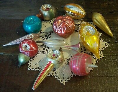 11 lg antique german glass christmas tree ornaments cone shapes indents