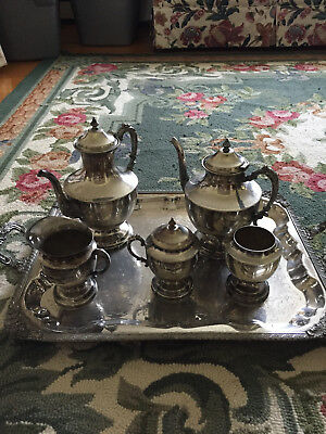 Antique Silver on Copper 6-piece Coffee/Tea Set with Tray