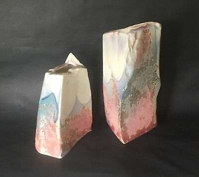 Pair of  Vtg Tony Evans Ancient Sands Pottery Vases