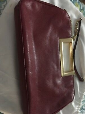 44cb750aacb5 MICHAEL KORS BERKLEY Large Clutch - Claret Red - Org $228 NWT ...