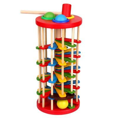 Knock The Ball Falls Rolling Ladder Toys Wooden With Hammer Kids Educational Toy
