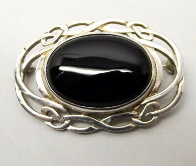Vtg Sterling Silver Ornate Brooch Pin Black Onyx Infinity Knot Estate Mourning
