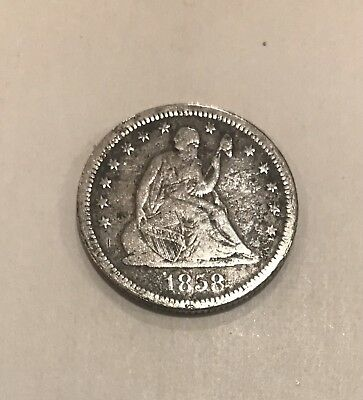 1858-O U.S. Seated Liberty Silver Quarter 25 Cents Coin