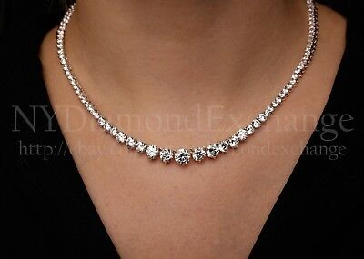 "16"" Created Diamond Graduated Tennis Necklace 40.00tcw 925 Solid Sterling Silver"