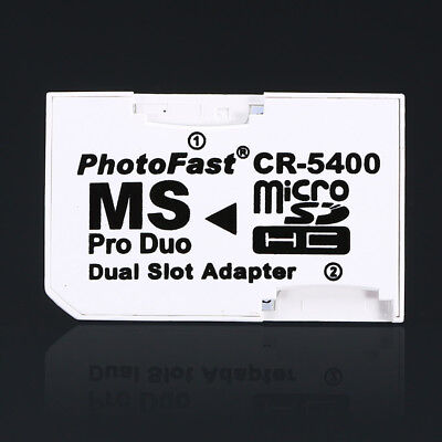 Dual Slot Pro Duo Adapter Micro SD SDHC TF to MS Memory Stick Converter for PSP
