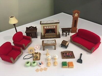 Sylvanian Families Luxury Living Room Set With Working Fireplace