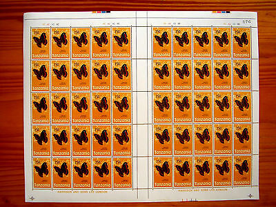 TANZANIA 1973 BUTTERFLY Issue ONE SHILLING FIFTYcents Complete SHEET of 50 MNH.