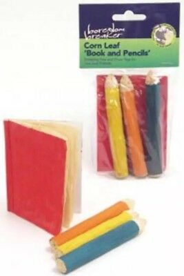 """Boredom Breaker Corn Leaf """"book And Pencil"""" Toss And Chew Toys For Small Animals"""